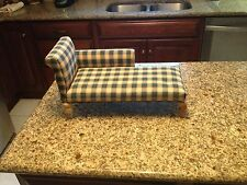 Blue and Cream Plaid Doll upholstered  Lounge Chair 1:6 handcrafted Any Room
