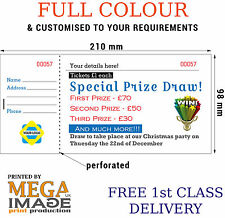 1000 PERSONALISED RAFFLE PRIZE DRAW TICKETS, DL SIZE