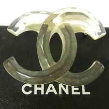 Authentic CHANEL Vintage CC Logos Brooch Pin Plastic Corsage Accessories B29418