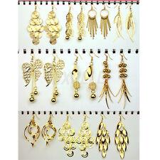 10 Paia Orecchini con Pendenti Tono Oro in Lega Modelli Misti Idea Regalo Donna