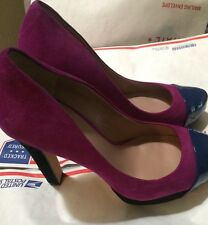 10 NEW Vince Camuto Pink/ Blue Suede And Patent Leather Platform Shoes