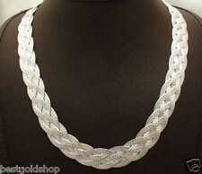 "17"" Reversible 4 Row Woven Herringbone Chain Necklace Real Sterling Silver 925"