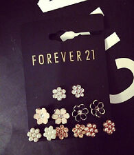 E711 Forever 21 Pearl Floral Rhinestone Gem Sun Flower 6-Pair Set Earrings US