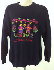 United Colors of Benetton 012 Wool Crewneck Sweater Dutch Girl Boy Sz Large?