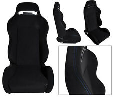 NEW 1 PAIR BLACK CLOTH & BLUE STITCHING ADJUSTABLE RACING SEATS ALL HONDA