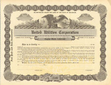 United Utilities Corporation   1920s stock certificate share