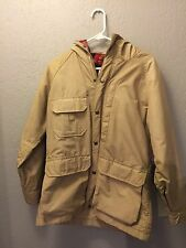 Woolrich Women Youth S USA Tan Hooded Coat Jacket Plaid Wool Blanket Lined