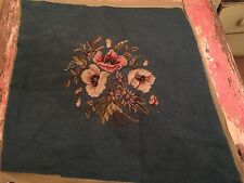 Vtg Completed Needlepoint Canvas Antique Shabby Cottage Chic Roses Bouquet Blue