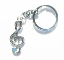 Chrome Metal Musical Note Blue Crystal Keyring Music Note Keychain Gift Boxed