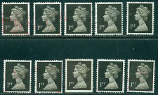 GREAT BRITAIN SG-1450, SCOTT # MH-185 MACHIN USED, 10 STAMPS, GREAT PRICE!