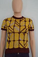 Miu Miu Yellow/Burgundy/Beige Metallic Graphic Knit SS Sweater, Sz 36/US 0