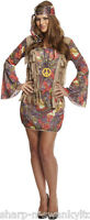 Ladies Sexy Groovy Hippy Hippie Chick 1960s 1970s Fancy Dress Costume Outfit