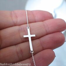 Sideways Cross Necklace - 925 Sterling Silver - Faith Religious Christian NEW