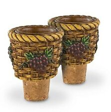 Candle Holder & Bottle Stopper Set of 2-Basket with Grapes- for Taper Candles