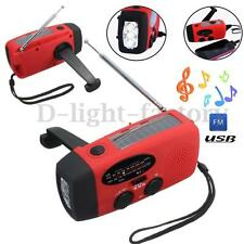Emergency Solar Wind Up Travel Camping Charger LED Flashlight Torch AM/FM Radio