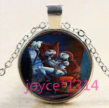 Nightmare Before Christmas Cabochon silver Glass Chain Pendant Necklace #3316