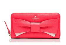 Kate Spade Eden Lane Bow Lacey Zip Around Wallet PWRU4854 Red Pink Leather NWT