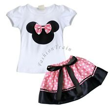 Baby Girls Pink Minnie Mouse Top T- Shirt+Tutu Skirt Dress Outfit Set Clothes 2T