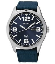 Seiko Core Sport Solar-Powered Stainless Steel Men's Watch with Blue Nylon Band