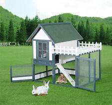 Rabbit Hutch Chicken Coop Cage Wooden Pet House Backyard Habitat Run Nesting Box