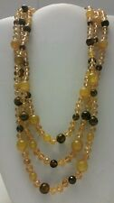 Gorgeous designer yellow and brown agate beaded short multi layer necklace