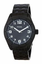 Fossil Mens Watch All Black Stainless Steel White Numbers BQ1250