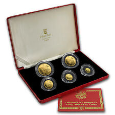 1988 Isle of Man 5-Coin Gold Manx Cat Proof Set - SKU #59944