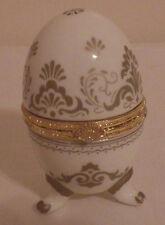 """Hinged Egg Shaped Dresser Desk Office Clock Quartz Gold & White 4"""""""