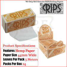 Hemp Rips Slim Cigarette Rolling Papers On A Roll - 1 Full New Box - 24 Packets