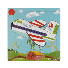Wooden Aircraft Jigsaw Toys For Kids Education Learning Puzzles Toys 9 In 1PC OK