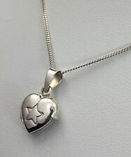 Sterling Silver 925 Heart Star Locket Pendant Necklace Mothers Day Gift Box
