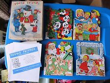 Vintage Christmas Cards UNUSED Box Lot of 19 Kids Childrens Stand-Ups Tri-Fold