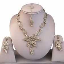 SILVER CLEAR INDIAN COSTUME JEWELLERY NECKLACE EARRINGS CRYSTAL SET BRIDAL NEW