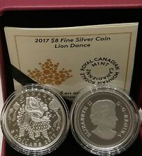 2017 Lion Dance $8 1/4OZ Pure Silver Proof Coin Canada