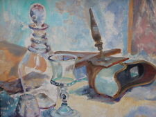 OIL ON CANVAS LAID ON BOARD KITCHEN STILLIFE FREE SHIPPING