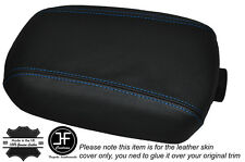 BLUE STITCH LEATHER SKIN ARMREST LID COVER FITS KIA SPORTAGE 2010-2015
