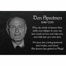 "PERSONALISED  MEMORIAL Slate stone GRAVE PLAQUE - Photoengraving 16"" x 10"" G-033"
