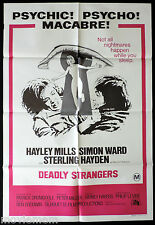 DEADLY STRANGERS Original ONE SHEET Movie Poster Hayley Mills Simon Ward
