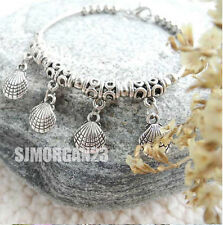 Tibetan Silver Shell Bangle  Chain Charm Bracelet. Adjustable. 7 inches