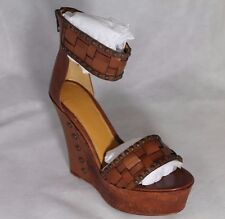 """Eric Rutberg Transparent """"METRO"""" Brown Leather Shoes Studded Wedge Sandals SZ 9M"""