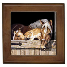Horse & Friend Home Decor Framed Ceramic Wall Tile / Plaque / Wall Art / Entry
