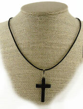 Hematite Cross Pendant Necklace PB15Leather Cord  Grounding Memory Peace Calm