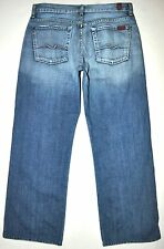 7 For All Mankind Men's Relaxed Light Med Blue Button Fly Jeans 33 X 29 1/4 USA