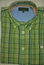 J.L. Powell Men's long sleeve collared Madras Green Plaid Shirt NWT size small