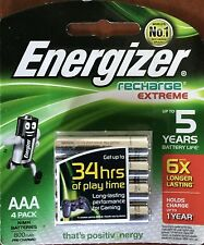 ENERGIZER RECHARGE EXTREME AAA 4 PACK  BATTERY NEW & SEALED