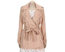 ROEM Womens Casual Half Trench Coat Belted Jacket Light Blue & Light Pink NWT