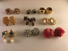 Lot of 8 Vintage Costume Earrings Napier Pat Pend Coventry Pink Clip On Signed