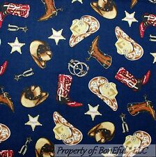 BonEful Fabric FQ Cotton Quilt VTG Navy Blue Horse Shoe Bandana Cowboy Star Man