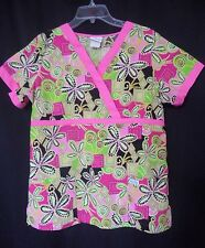 Peaches Womens Sz Small Pink Green Faux Wrap Front Floral Scrub Top