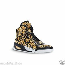 NEW VERSACE BAROQUE HIGH-TOP BLACK AND GOLD MEDUSA SNEAKERS 44.5 - 11.5